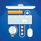 istock Blue Computer Desktop Workspace 468168794