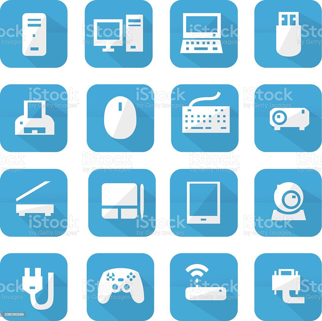 Blue computers device icons vector art illustration