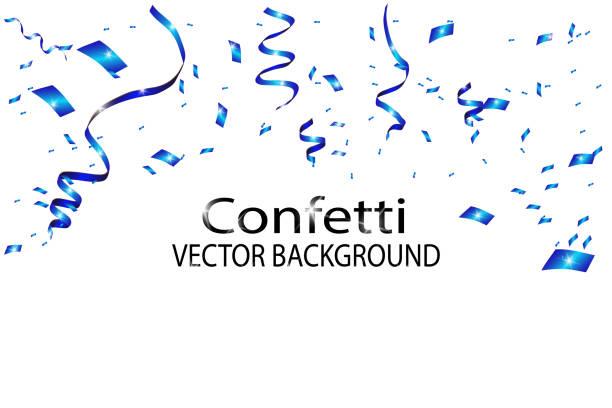 blue confetti background - anniversary clipart stock illustrations