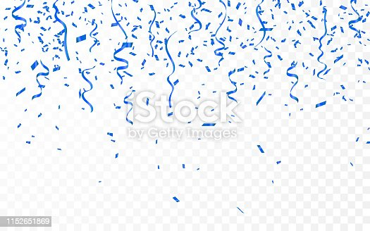 Blue confetti. Celebration carnival ribbons. Luxury greeting card. Vector illustration.