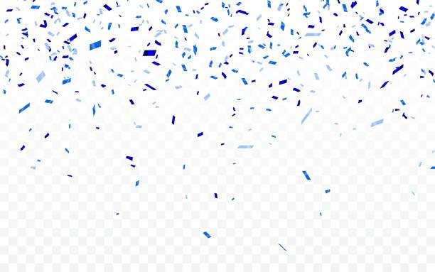 stockillustraties, clipart, cartoons en iconen met blauwe confetti. viering carnaval linten. luxe wenskaart. vector illustratie - confetti