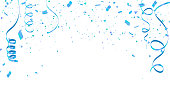 White background with blue confetti Celebration carnival ribbons. luxury greeting rich card.