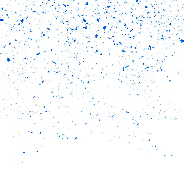 Blue Confetti Seamless Pattern. Set of Particles vector art illustration