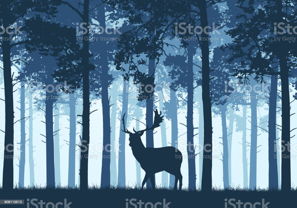 A blue coniferous forest with silhouette of a fallow deer - vector - Royalty-free Abstract stock vector