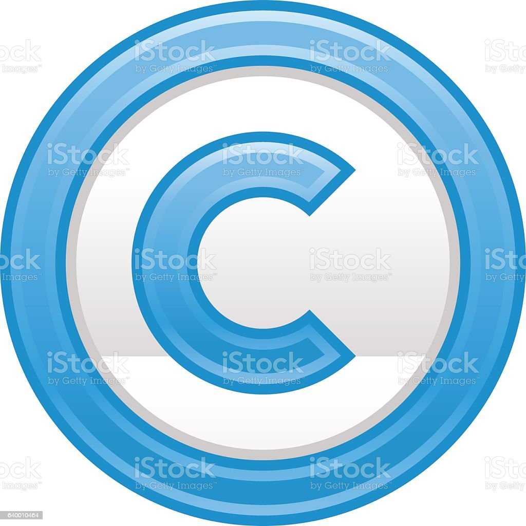Blue Copyright Symbol Sign Matte Icon vector art illustration