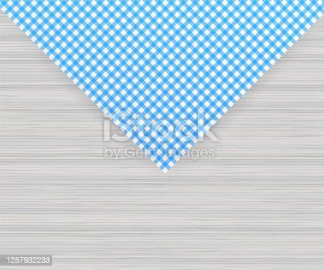istock Blue corner tablecloth on white background. Vector stock illustration. 1257932233