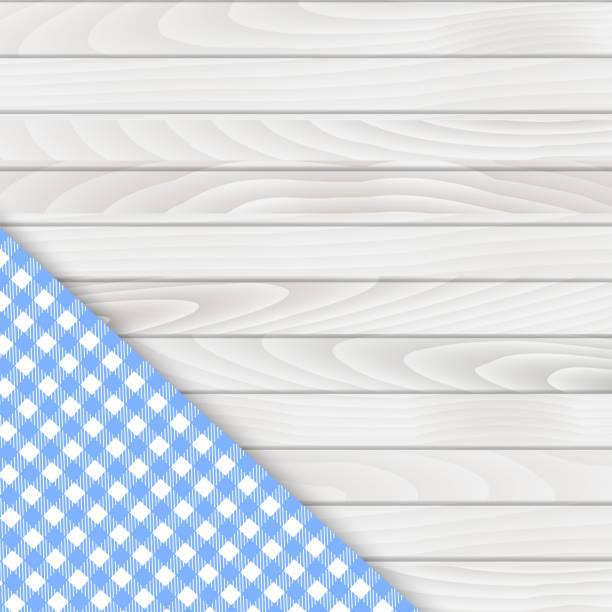 stockillustraties, clipart, cartoons en iconen met blauwe hoek tafelkleed op witte houten tafel. vector - tafel restaurant top