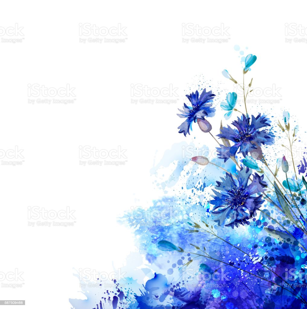 blue cornflowers by abstract elements vector art illustration