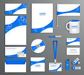 Blue corporate id template, company style, abstract of design el