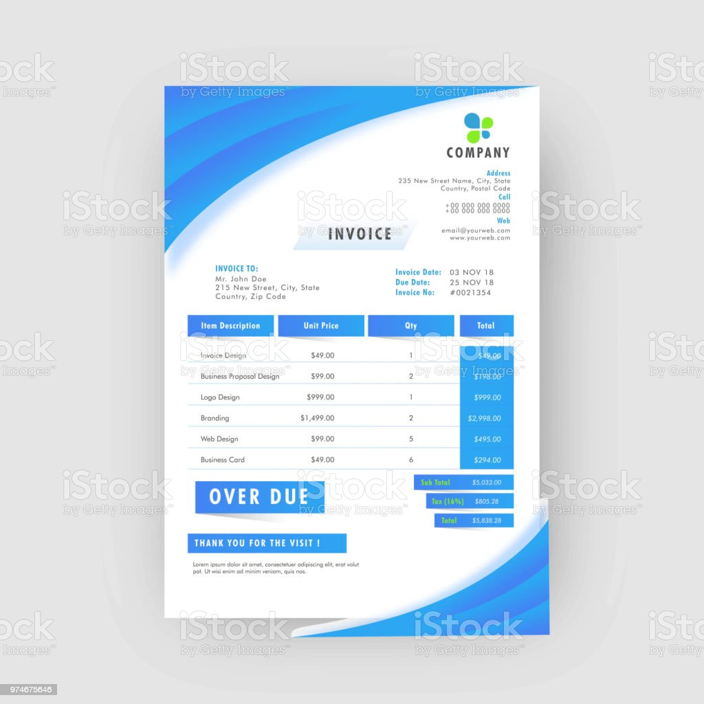blue corporate invoice or estimate template stock vector art more