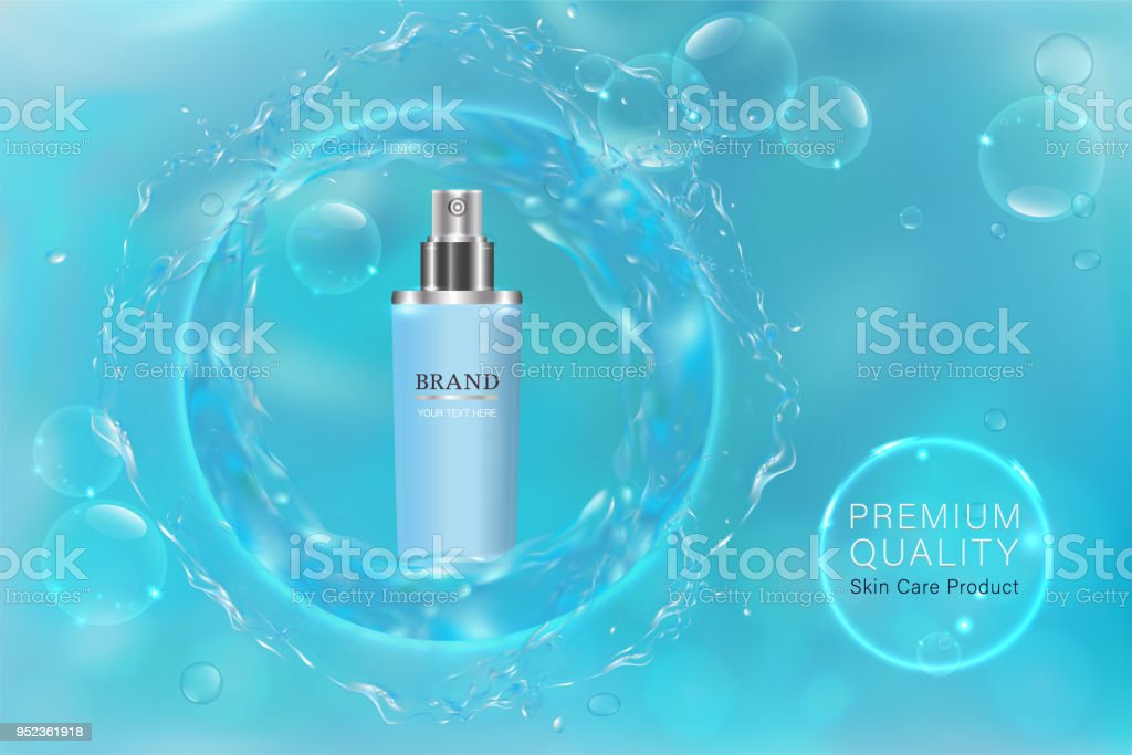 Blue cosmetic container with advertising background ready to use, blue liquid luxury skin care ad. vector art illustration