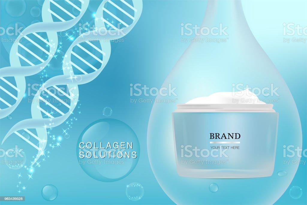 Conteneurs cosmétiques bleu avec publicité fond prêt à l'emploi, annonce de soins peau luxe - clipart vectoriel de ADN libre de droits