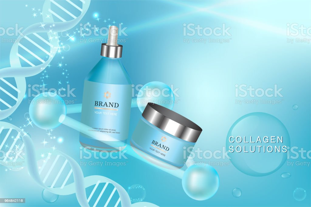 Blue cosmetic containers with advertising background ready to use, luxury skin care ad royalty-free blue cosmetic containers with advertising background ready to use luxury skin care ad stock vector art & more images of advertisement
