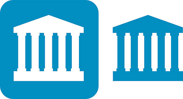 Blue Courthouse Icons vector art illustration