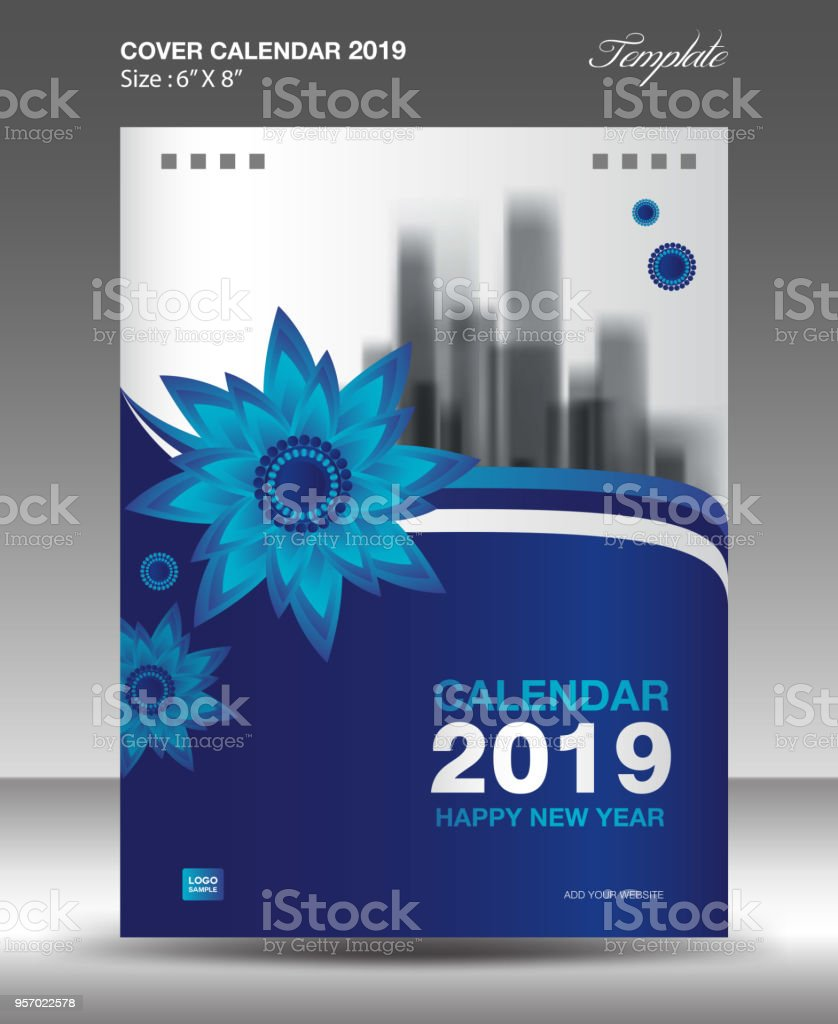 blue cover desk calendar 2019 design flyer template ads booklet catalog