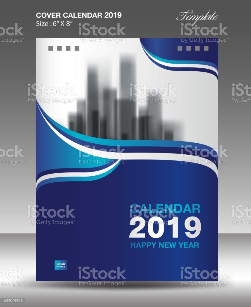 Blaue Abdeckung Schreibtisch 2019 Kalenderdesign Flyer Vorlage ...