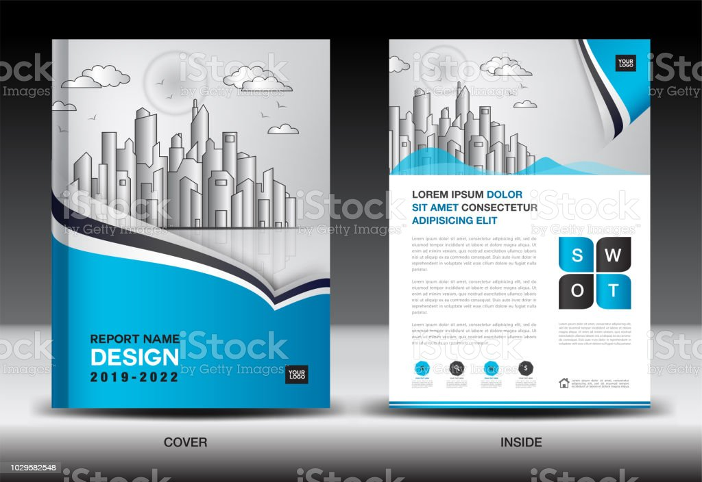 Blue cover template with city landscape annual report cover design blue cover template with city landscape annual report cover design business brochure flyer template maxwellsz