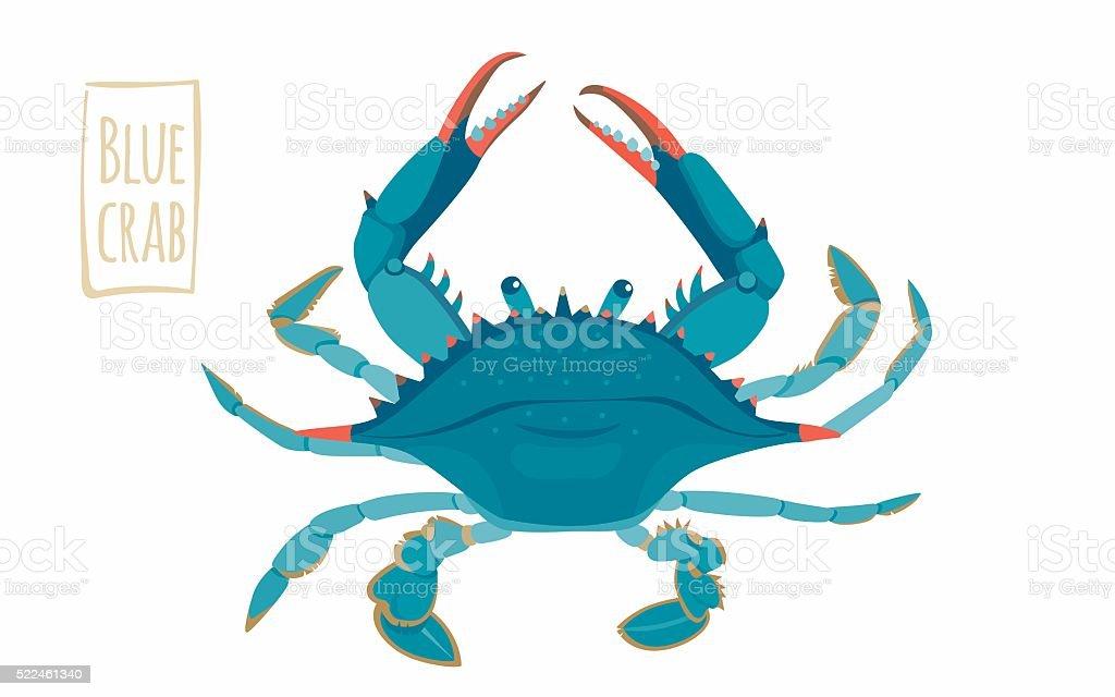Blue crab, cartoon illustration vector art illustration