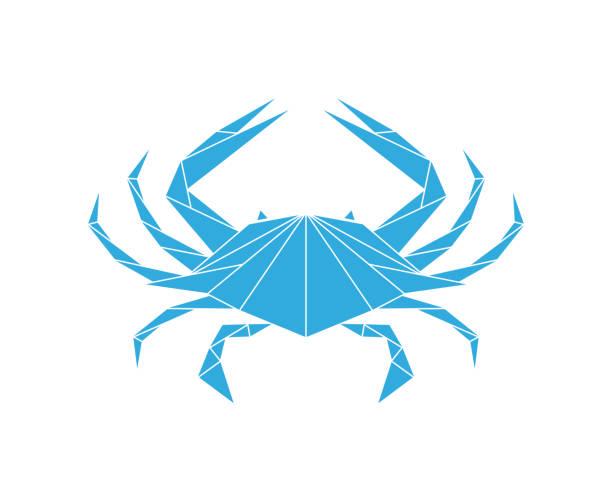 stockillustraties, clipart, cartoons en iconen met blauwe krab. logo. geïsoleerde krab op witte achtergrond - blauwe zwemkrab