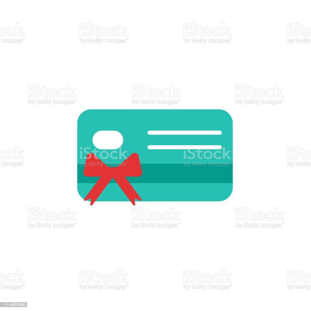 Design Bank Twist.Blue Credit Debit Card With Red Bow And Ribbon Gift Card Icon Bank