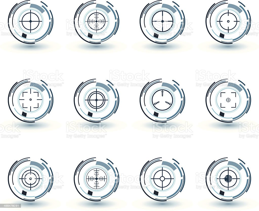 Blue crosshairs set vector art illustration