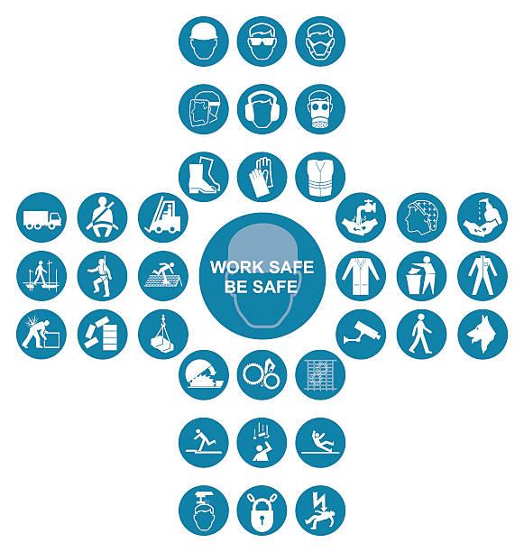 ilustraciones, imágenes clip art, dibujos animados e iconos de stock de blue cruciform health and safety icon collection - equipo de seguridad