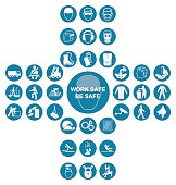 Blue cruciform health and safety icon collection
