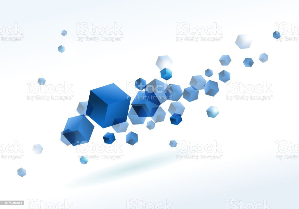 blue cube background vector art illustration
