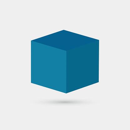 3D blue cube box pattern