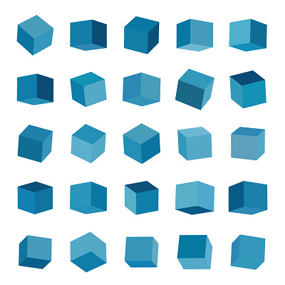 3D Blue Cube Model Box Icon Collection