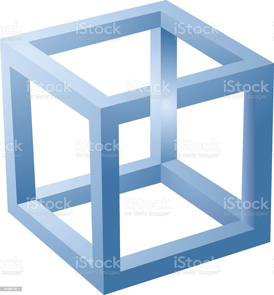 A 3D blue cube optical illusion isolated on white vector art illustration