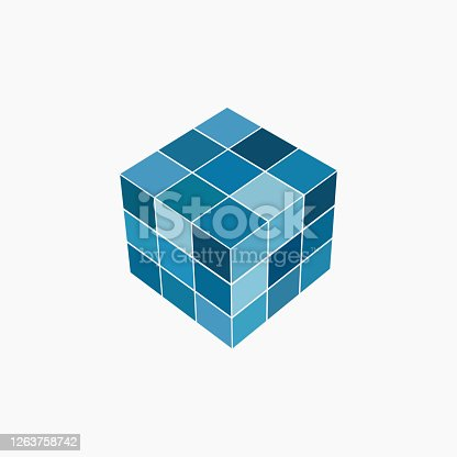istock 3D blue cube pattern icon 1263758742