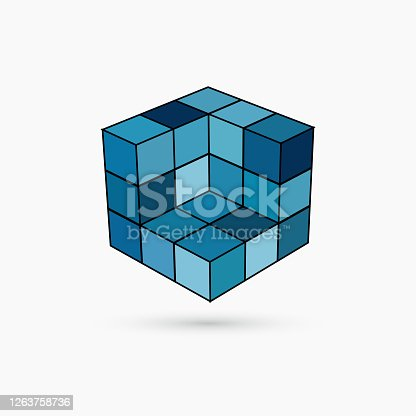 istock 3D blue cube structure pattern icon 1263758736