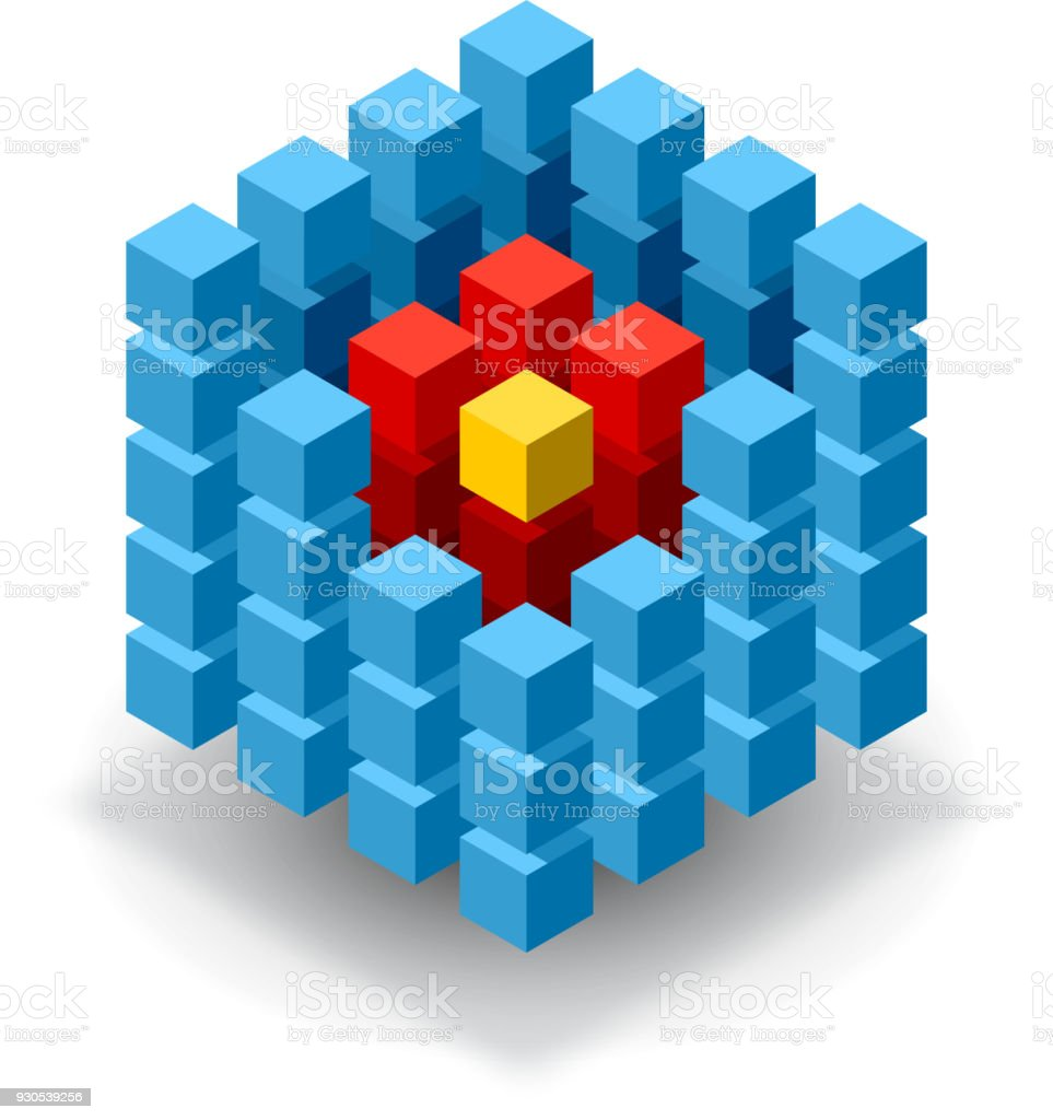 Blue cube with red segments vector art illustration