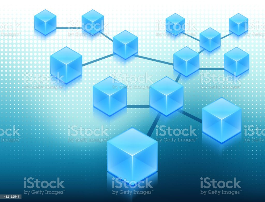 Blue Cubes Web Network Concept on Internet Background royalty-free blue cubes web network concept on internet background stock vector art & more images of backgrounds