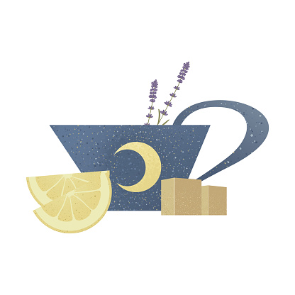 Blue cup or mug of tea with moon, stars, lemons slice, brown sugar, lavender isolated on white background.