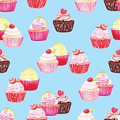 Blue cupcakes vector seamless pattern. Watercolor hand drawn.