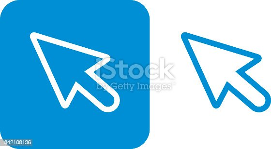 Vector illustration of two blue curser icons.