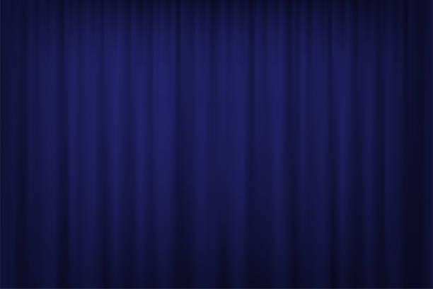 blauen vorhang hintergrund. vektor-kino, theater oder zirkus vorhang. - plüsch stock-grafiken, -clipart, -cartoons und -symbole