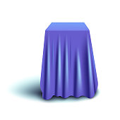 Blue curtain cover covering long cube object isolated on white background - realistic tablecloth fabric for furniture dust protection or product reveal presentation, vector illustration