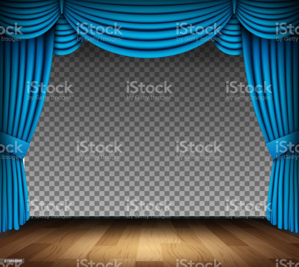 Blue curtain of classical theater on transparent background vector art illustration
