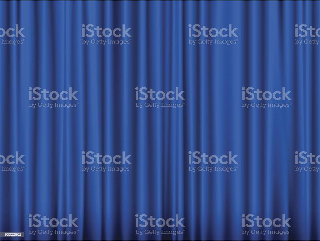 Blue curtain vector art illustration