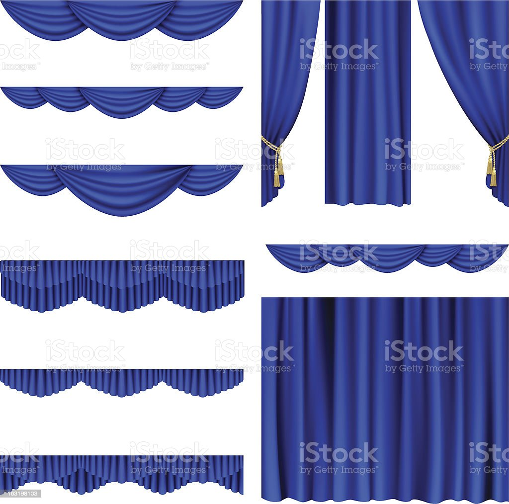 Blue curtains vector art illustration
