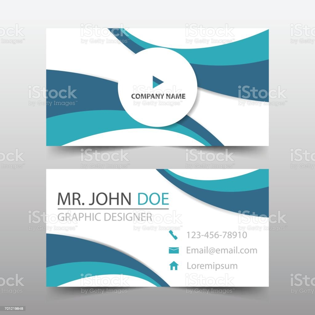 Courbe Bleue Carte De Visite Entreprise Nom Modele Horizontal Simple