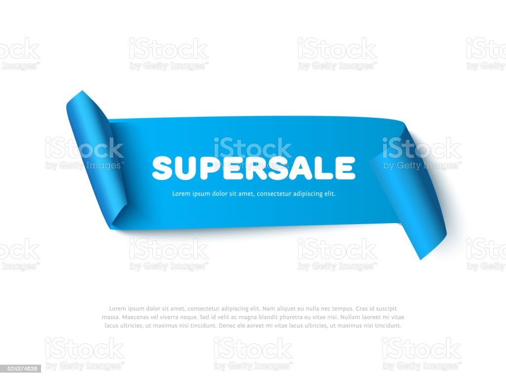 Blue curved paper ribbon banner with rolls and inscription SUPERSALE vector art illustration