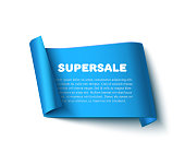 Blue curved paper ribbon banner with rolls, inscription SUPERSALE and