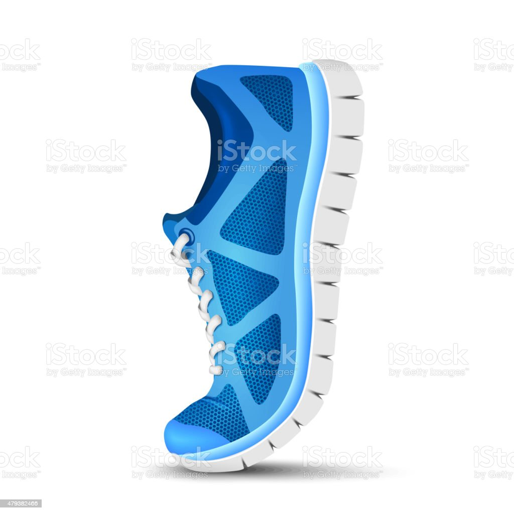 Blue curved sport shoes for running vector art illustration