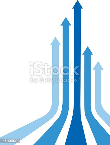 Vector illustration of five curved blue arrows moving upwards.