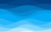 istock Blue curves and the waves of the sea range from soft to dark vector background flat design style 1175268677