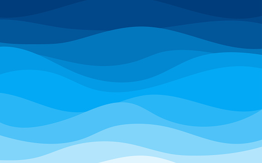 Blue curves and the waves of the sea range from soft to dark vector background flat design style
